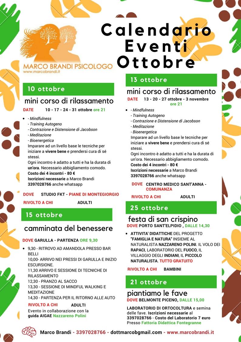 Calendario Eventi Calendario Eventi Ottobre