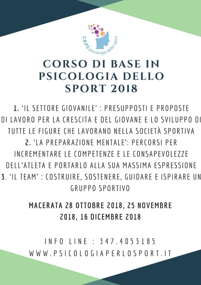 CORSO BASE 2018 Corso Base in Psicologia dello Sport Macerata